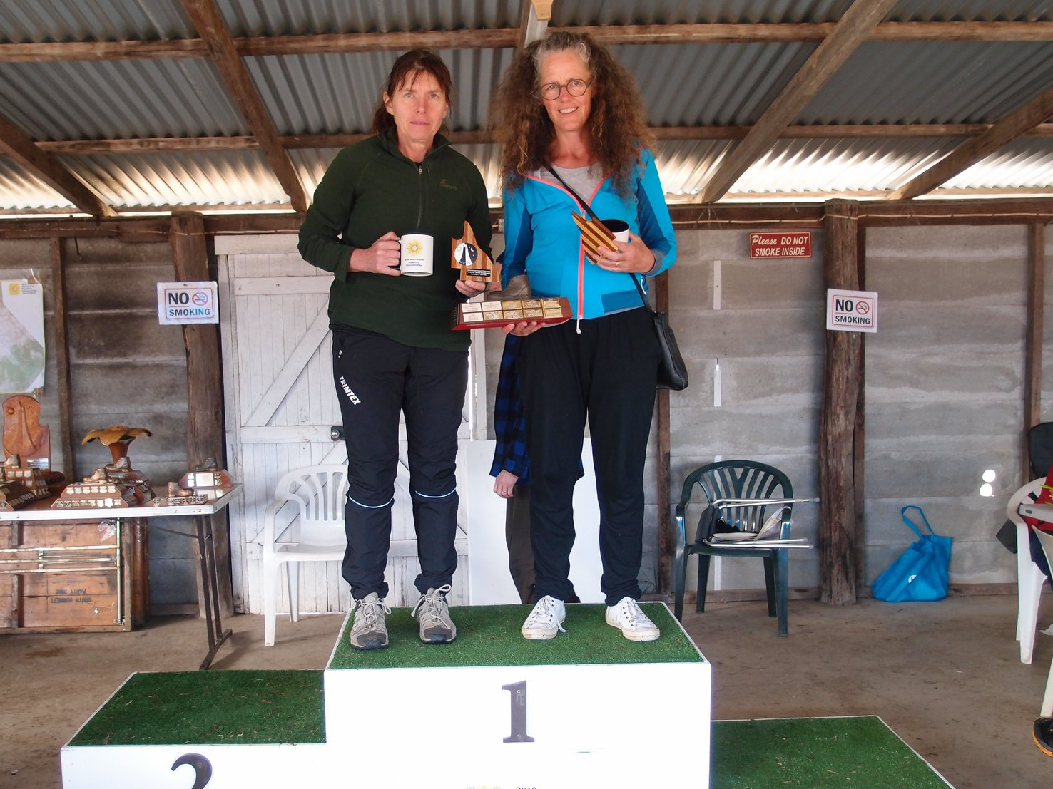 Christine Brown and Karen Pedley – Back on the podium.